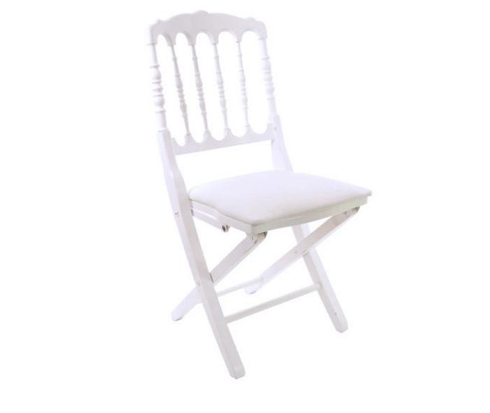 location chaise napol on pliante blanche par souchon r ception. Black Bedroom Furniture Sets. Home Design Ideas
