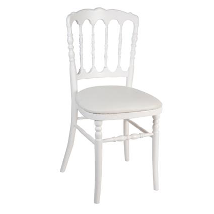 Location Chaise Napoleon III Blanche Par Souchon Reception